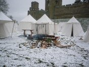 Buckinghams Retinue at Warwick Castle in the snow