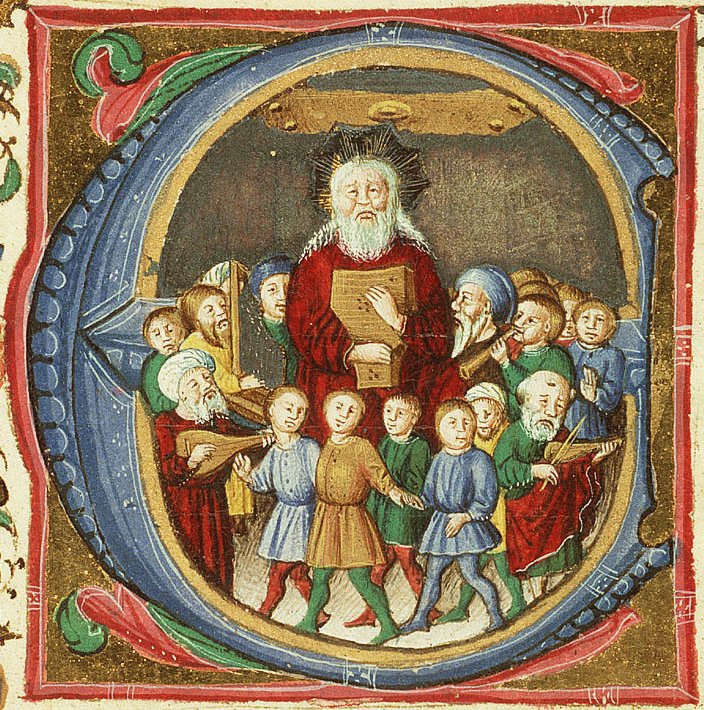 David_playing the harp, surrounded by musicians and dancing children